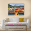 St. Kitts and Nevis town skyline at the port Multi panel canvas wall art