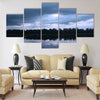 Lake in Latvia. Water surface with small waves in a windy day Multi panel canvas wall art