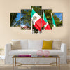 Mexican flags at the street Multi panel canvas wall art