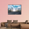 Road surface and Guangzhou skyline multi panel canvas wall art