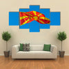 The Macedonian Flag Waving In The Air, Multi Panel Canvas Wall Art