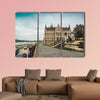Cobbled street leading to legislative house in Hungary multi panel canvas wall art