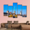 Panoramic view of historic Zurich city center multi panel canvas wall art