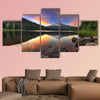 Sunset at Trillium Lake with Mount Hood in Oregon multi panel canvas wall art