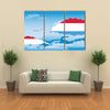 The Flag Along With the Clouds And Airplane Flying, Multi Panel Canvas Wall Art