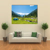 A Blue Party Tent In The Center Of The Mountain river On A hot Summer Day, Kyrgyzstan Multi Panel Canvas Wall Art