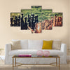 chess pieces arranged on the board mid-game in the fresh air multi panel canvas wall art