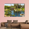 Beautiful flowers and trees in Japanese Garden Multi panel canvas wall art