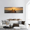 Wooden path  leading to ocean with beautiful sunset sky panoramic canvas wall art