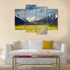 Landscape with road and snowy mountains Multi Panel Canvas Wall Art