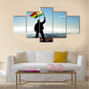 Bolivia flag on top of the mountain peak Multi panel canvas wall art