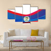 Flag of Belize, blue with red stripes and emblem Multi panel canvas wall art