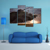 A Tank With Military Equipment Splashing Water Around Multi Panel Canvas Wall Art