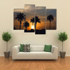 Sunrise and palm trees in The Gambia, West Africa Multi Panel Canvas Wall Art