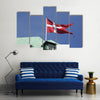Danish Flag And Danish Ministry Of Defense In Danish Capital Multi Pane Canvas Wall Art