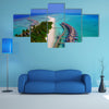 An Aerial Flying Drone View Of Maldives White Sandy Beach On Sunny Tropical Multi Panel Canvas Wall Art