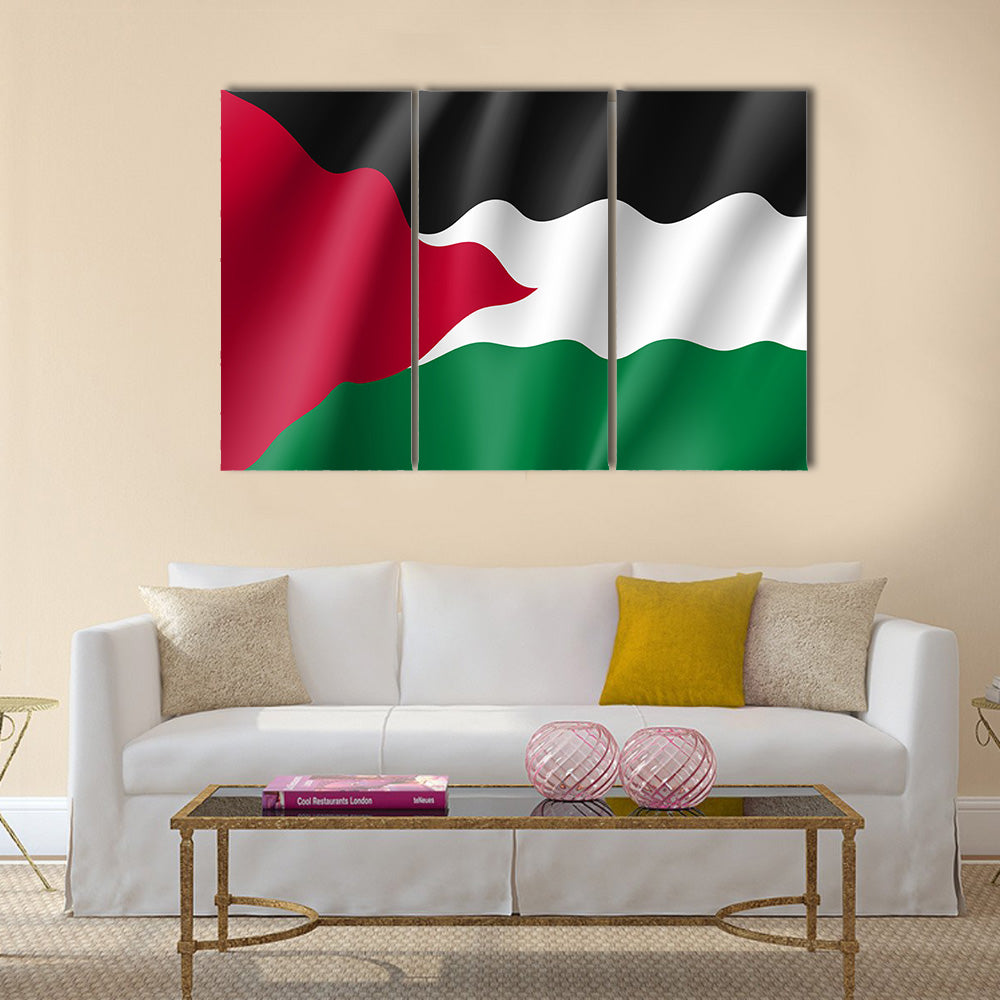 Vector flag of Palestine state Multi panel canvas wall art