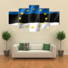 Estonia national flag with a star circle of EU multi panel canvas wall art