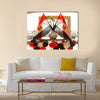 Egyptian flags in backlight in a hotel lobby Multi panel canvas wall art