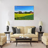 Finnish summer landscape with a field of flowering rape Multi panel canvas wall art