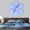 Impulse formation flying hexagonal canvas wall art