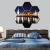 kremlin from river at night in Russia Moscow hexagonal canvas wall art