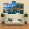 Melide Dam Surrounded By Water Giving A Very Pleasant Scene, Switzerland Multi Panel Canvas Wall Art