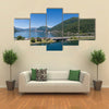 Melide Dam Surrounded By Water Giving A Very Pleasant Scene, Switzerland, Multi Panel Canvas Wall Art