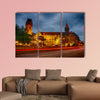 The city hall of Duisburg in Germany at night multi panel canvas wall art