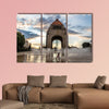 Girl playing with the water fountain in Mexico City multi panel canvas wall art