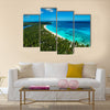 Aerial view of tropical island beach, Dominican Republic Multi Panel Canvas Wall Art