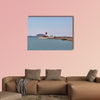Red and white lighthouse in Cartagena, Spain multi panel canvas wall art