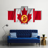 Bitcoin on the national flag of Canada waving country multi panel canvas wall art