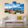 The downtown cityscape with a colorful presentation of life in Athens, Georgia, USA, Multi Panel Canvas Wall Art