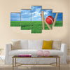Grass and cricket set with blue sky Multi panel canvas Wall art