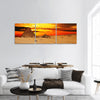 Camel caravan are in desert in front of pyramid at sunset panoramic canvas wall art