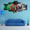 Military tank close-up Caterpillar Track with Algeria flag Background Multi panel canvas wall art