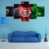 Military tank close-up Caterpillar Track with Afghanistan flag Multi panel canvas wall art