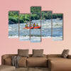 Happy family of four on the catamaran Multi panel canvas wall art