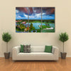 Tropical Golf Course At The Sunset, Maldives, Punta Cana, Multi Panel Canvas Wall Art