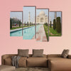 A terrific Taj Mahal view shot from the right side of the Taj Pool multi panel canvas wall art