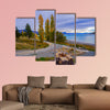 Landscape scenery of New Zealand during cloudy day multi panel canvas wall art
