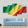 Congo realistic flag Multi panel canvas wall art