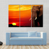 African elephant in savanna at sunset Multi panel canvas wall art