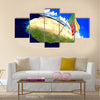 Benin national flag on world map Multi panel canvas wall art