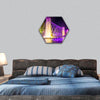 Colorful music fountains in the late evening hexagonal canvas wall art