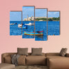 Colorful fishing boats are anchored in Havana Bay, Cuba multi panel canvas wall art