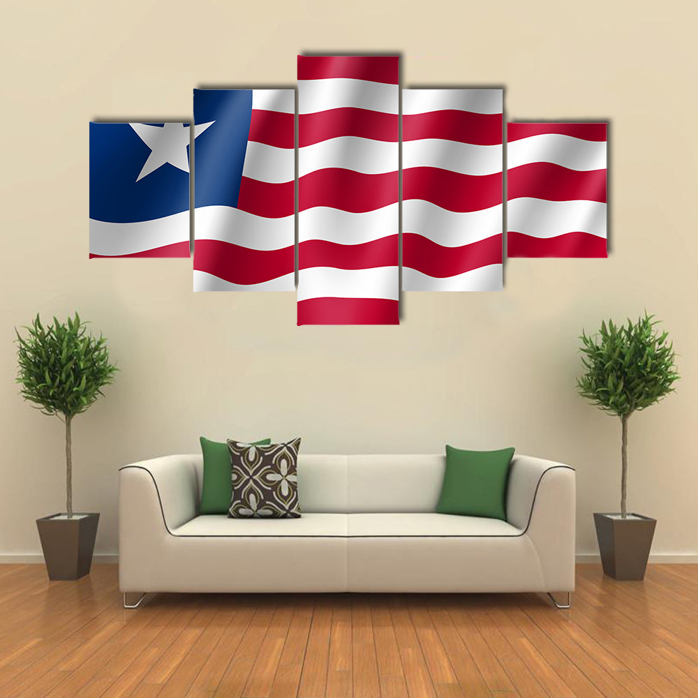 The Realistic Flag Of The Liberia, Multi Panel Canvas Wall Art