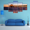 A Beautiful Manhattan Beach Pier At Sunset, Los Angeles, California Multi Panel Canvas Wall Art