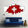 Textured Map Of Switzerland In Nice Colors Multi Panel Canvas Wall Art